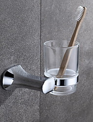 Toothbrush Holder Chrome Wall Mounted 9.1*10.9cm(3.6*4.3 inch) Brass / Glass Contemporary