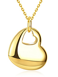 Romantic Korean-style Women's Heart Pendant Necklace 18K Gold Plated Fine Necklace Jewelry(Color:Gold)