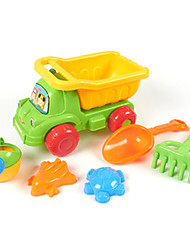 6-Pieces Beach Sand Toys Set with Truck, Water Pot, Sand Shovel, Sand Rake and 2 Models