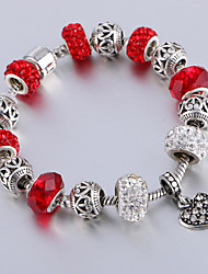 Antique Silver Plated Heart Pendant Beads Strands Bracelet