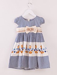 Girl's Blue Dress,Bow / Stripes Cotton Summer