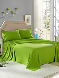 "Solid Microfiber Bed Sheet Set, Embroidered, with 14"" Deep Pocket"
