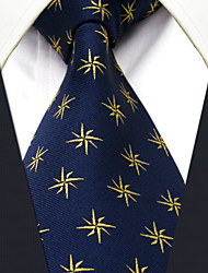 Men's Tie Navy Blue Geometrical  Fashion 100% Silk  Business