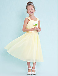 LAN TING BRIDE Tea-length Chiffon Junior Bridesmaid Dress A-line Square Natural with Draping Ruching