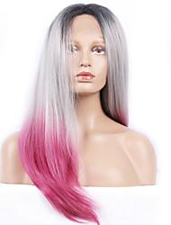 perruques synthétiques de mode en dentelle perruques avant avec lang droite noire et rose et la chaleur gris cheveux résistants perruques
