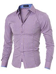 High Quality Men's casual long-sleeved shirt Slim collar shirt Cotton / Polyester Casual / Work / Sport Pure