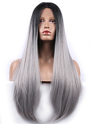 Fashion Synthetic Wigs Lace Front Wigs With Lang Straight Black Mixed Grey Heat Resistant Hair Wigs Women