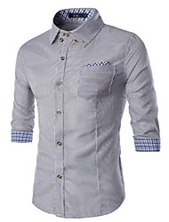 Men's Long Sleeve Shirt , Cotton Casual Striped
