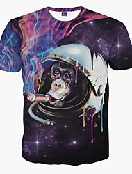 Herren T-shirt-Druck Freizeit Polyester Kurz-Lila / Tierdruck