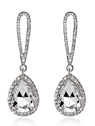 Lady's Silver AAA Zircon Stone Crystal Drop Earrings for Wedding Party Jewelry