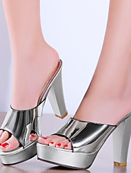 Women's Shoes Patent Leather / Customized Materials Chunky Heel Heels / Platform Clogs & Mules Dress /  Silver