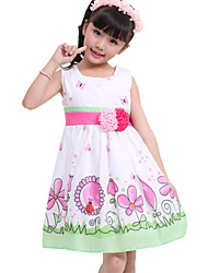 Girl's Flower Bird Print Sundress High Quality Party Pageant Lovely Kids Clothing Dresses