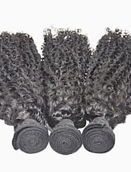 3pieces / lot cheveu humain prolongement naturel 16inch trame de cheveux noir de cheveux humains droite bouclés crépus