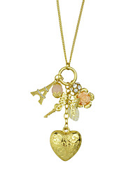 Gold Plated Heart Pendant Long Necklace