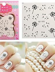 1PCS Water Transfer Printing  Black Dandelion Nail Stickers