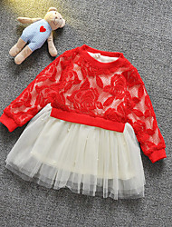 Girl's Pink / Red Dress,Floral / Lace Polyester / Spandex Spring / Fall