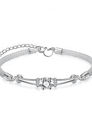 Lureme® Fashion Simple Zircon Snake Chain Silver Plated Charm Bracelet for Women