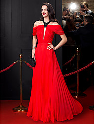 TS Couture Prom Formal Evening Dress - Celebrity Style A-line Jewel Floor-length Chiffon with Beading Draping