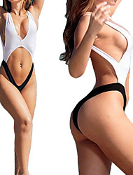 Women's Halter One-pieces / Cover-Ups , Solid Wireless Polyester White / Black