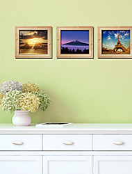 Trade New 3D Stereoscopic Photo Frame Creative Landscape Triptych Gold Stickers Eiffel Tower Wall Stickers