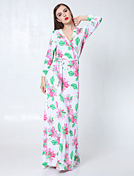Women's Holiday / Beach Floral Loose Dress , V Neck Maxi Polyester