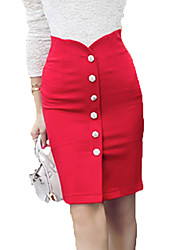 Women's Medium Style Package Front Open  High Waist  Office Lady Business Dress Skirts