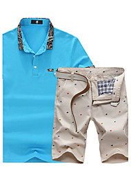 Herren Freizeit Activewear Sets - Einfarbig Kurz Baumwolle / Elasthan