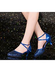 Non Customizable Women's Dance Shoes Latin / Salsa Flocking Cuban Heel