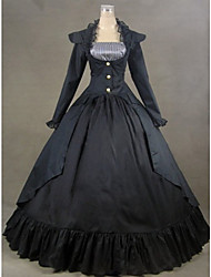 One-Piece/Dress Gothic Lolita Victorian Cosplay Lolita Dress Black Solid Long Sleeve Long Length Leotard For Women Cotton / Satin