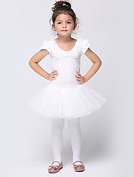 Girl's White Dress , Ruffle Cotton / Spandex All Seasons