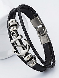 Vilam® Anchor Alloy PU leather Bracelet for Man Jewelry Christmas Gifts
