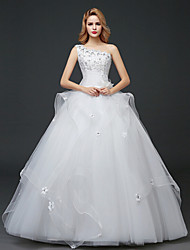 A-line Wedding Dress-Floor-length One Shoulder Lace / Tulle