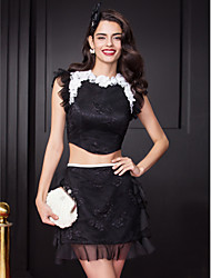 TS Couture Cocktail Party Prom Dress - Two Pieces Celebrity Style Sheath / Column Jewel Short / Mini Lace with Appliques Flower(s)