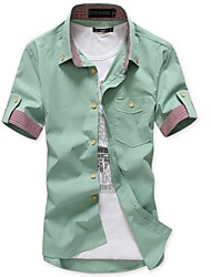 Men's Short Sleeve Shirt , Cotton Casual Plaids & Checks / Pure