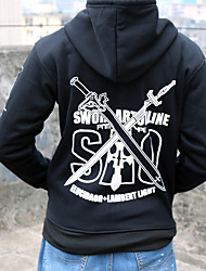 Inspirado por Sword Art Online Fantasias Anime Fantasias de Cosplay Hoodies cosplay Estampado Preto Manga Comprida Top / Mais Acessórios