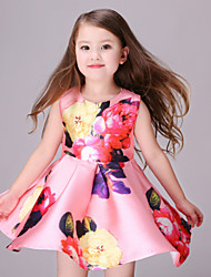 Girl's Black / Pink Dress,Floral Polyester Summer