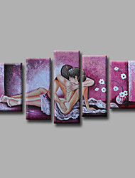 "Stretched (ready tohang) Hand-Painted Oil Painting 60""x36"" Canvas Wall Art  Nude Girls Back Abstract Purple"