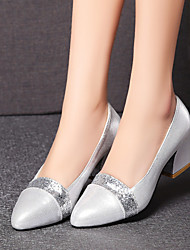 Women's Shoes Customized Materials Chunky Heel Heels / Pointed Toe Heels Office & Career / Dress / Casual Black / Silver