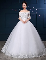 Ball Gown Wedding Dress Floor-length Off-the-shoulder Lace / Tulle with Lace / Sequin