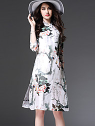 Women's Casual/Daily Vintage A Line Dress,Floral Stand Knee-length ¾ Sleeve Multi-color Polyester All Seasons