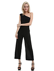 Women's Solid Black Jumpsuits, One Shoulder Sleeveless Long Wide Leg
