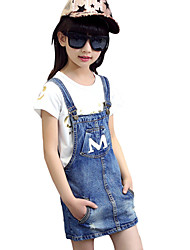 Girl's Cotton Summer Letter M Pattern Suspender Skirt