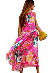 Women's Beach Boho Chiffon / Swing Dress,Print Halter Maxi Sleeveless Pink Polyester Summer