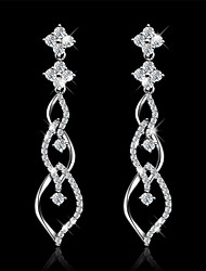 Copper Women Jewelry Fashion High Quality White Gold Plated Drop Earrings with Cubic Zirconia