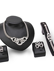 Women's Jewelry Set Imitation Diamond Rhinestone Vintage Statement Jewelry Costume Jewelry Rhinestone Silver Plated Jewelry Necklaces