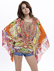 Women's Flare Sleeve Plus Size Batwing Sleeve Floral Print Chiffon Blouse