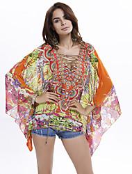 Women's Plus Size Batwing Sleeve Floral Print Chiffon Blouse