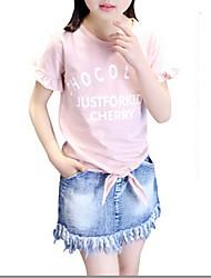 Menina de Vestido Verão Algodão Azul / Rosa / Branco