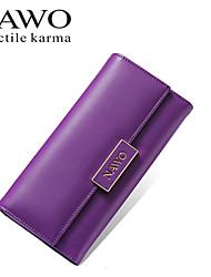 NAWO Women Cowhide Checkbook Wallet Purple-N353191