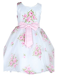 2~9 Years Toddler Girl's Sleeveless Princess Dress with Flowers Print and Bowknot Belt Party/Wedding Bridesmaid Dresses